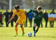 18 January 2020; Kevin Zefi of Republic of Ireland in action against Gianna Di Pizio of Australia during the International Friendly match between Republic of Ireland U15 and Australia U17 at FAI National Training Centre in Abbotstown, Dublin. Photo by Seb Daly/Sportsfile