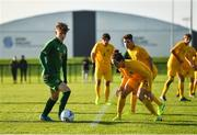 18 January 2020; Kevin Zefi of Republic of Ireland in action against Cassidy Tanddo of Australia during the International Friendly match between Republic of Ireland U15 and Australia U17 at FAI National Training Centre in Abbotstown, Dublin. Photo by Seb Daly/Sportsfile