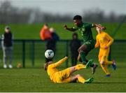 18 January 2020; Gideon Tetteh of Republic of Ireland in action against Matthew O'Donoghue of Australia during the International Friendly match between Republic of Ireland U15 and Australia U17 at FAI National Training Centre in Abbotstown, Dublin. Photo by Seb Daly/Sportsfile
