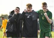 18 January 2020; Republic of Ireland players, from left, Adam Murphy, Sam Curtis and Cathal Heffernan celebrate following the International Friendly match between Republic of Ireland U15 and Australia U17 at FAI National Training Centre in Abbotstown, Dublin. Photo by Seb Daly/Sportsfile