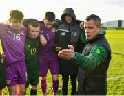 18 January 2020; Republic of Ireland manager Jason Donohue talks to his players following the International Friendly match between Republic of Ireland U15 and Australia U17 at FAI National Training Centre in Abbotstown, Dublin. Photo by Seb Daly/Sportsfile