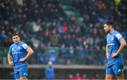 18 January 2020; Jordan Larmour, left, and Ross Byrne of Leinster during the Heineken Champions Cup Pool 1 Round 6 match between Benetton and Leinster at the Stadio Comunale di Monigo in Treviso, Italy. Photo by Ramsey Cardy/Sportsfile