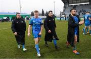 18 January 2020; Leinster players, from left, Seán Cronin, James Tracy, Cian Healy and Andrew Porter following the Heineken Champions Cup Pool 1 Round 6 match between Benetton and Leinster at the Stadio Comunale di Monigo in Treviso, Italy. Photo by Ramsey Cardy/Sportsfile