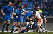 18 January 2020; Caelan Doris of Leinster is tackled by Toa Halafihi of Benetton during the Heineken Champions Cup Pool 1 Round 6 match between Benetton and Leinster at the Stadio Comunale di Monigo in Treviso, Italy. Photo by Ramsey Cardy/Sportsfile