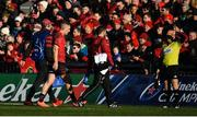 19 January 2020; Andrew Conway of Munster leaves the pitch for a head injury assessment during the Heineken Champions Cup Pool 4 Round 6 match between Munster and Ospreys at Thomond Park in Limerick. Photo by Brendan Moran/Sportsfile