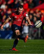 19 January 2020; JJ Hanrahan of Munster kicks a conversion during the Heineken Champions Cup Pool 4 Round 6 match between Munster and Ospreys at Thomond Park in Limerick. Photo by Brendan Moran/Sportsfile