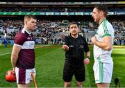 19 January 2020; Referee Colm Lyons with captains Seán McCormack of Borris-Ileigh, left, and Michael Fennelly of Ballyhale Shamrocks during the coin toss prior to the AIB GAA Hurling All-Ireland Senior Club Championship Final between Ballyhale Shamrocks and Borris-Ileigh at Croke Park in Dublin. Photo by Seb Daly/Sportsfile