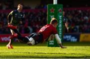 19 January 2020; Craig Casey of Munster scores his side's fourth try during the Heineken Champions Cup Pool 4 Round 6 match between Munster and Ospreys at Thomond Park in Limerick. Photo by Diarmuid Greene/Sportsfile