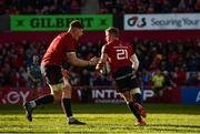 19 January 2020; Craig Casey of Munster celebrates with team-mate Jack O'Donoghue after scoring his side's fourth try during the Heineken Champions Cup Pool 4 Round 6 match between Munster and Ospreys at Thomond Park in Limerick. Photo by Diarmuid Greene/Sportsfile