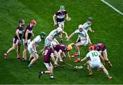 19 January 2020; Tommy Ryan of Borris-Ileigh, with the yellow helmet, tries to win possession of the sliothar under pressure from team-mates and opposition alike during the AIB GAA Hurling All-Ireland Senior Club Championship Final between Ballyhale Shamrocks and Borris-Ileigh at Croke Park in Dublin. Photo by Ray McManus/Sportsfile