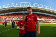 19 January 2020; Craig Casey and Ben Healy of Munster after the Heineken Champions Cup Pool 4 Round 6 match between Munster and Ospreys at Thomond Park in Limerick. Photo by Diarmuid Greene/Sportsfile