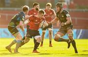19 January 2020; Craig Casey of Munster in action against Luke Price and Dan Lydiate of Ospreys during the Heineken Champions Cup Pool 4 Round 6 match between Munster and Ospreys at Thomond Park in Limerick. Photo by Diarmuid Greene/Sportsfile