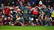 19 January 2020; CJ Stander of Munster scores his side's fifth try despite the efforts of Luke Price of Ospreys during the Heineken Champions Cup Pool 4 Round 6 match between Munster and Ospreys at Thomond Park in Limerick. Photo by Diarmuid Greene/Sportsfile