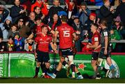 19 January 2020; Craig Casey of Munster celebrates after scoring his side's fourth try uring the Heineken Champions Cup Pool 4 Round 6 match between Munster and Ospreys at Thomond Park in Limerick. Photo by Brendan Moran/Sportsfile