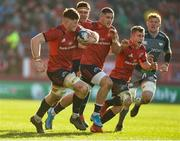 19 January 2020; Jack O'Donoghue, Billy Holland, Dan Goggin and Craig Casey on the attack for Munster during the Heineken Champions Cup Pool 4 Round 6 match between Munster and Ospreys at Thomond Park in Limerick. Photo by Diarmuid Greene/Sportsfile