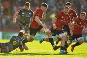 19 January 2020; Jack O'Donoghue of Munster, supported by Dan Goggin and Craig Casey gets away from Shaun Venter of Ospreys during the Heineken Champions Cup Pool 4 Round 6 match between Munster and Ospreys at Thomond Park in Limerick. Photo by Diarmuid Greene/Sportsfile