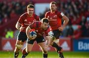 19 January 2020; JJ Hanrahan of Munster supported by team-mates Billy Holland and CJ Stander during the Heineken Champions Cup Pool 4 Round 6 match between Munster and Ospreys at Thomond Park in Limerick. Photo by Diarmuid Greene/Sportsfile