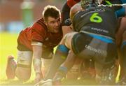 19 January 2020; Peter O'Mahony of Munster prepares for a scrum during the Heineken Champions Cup Pool 4 Round 6 match between Munster and Ospreys at Thomond Park in Limerick. Photo by Diarmuid Greene/Sportsfile