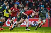 19 January 2020; Rory Scannell of Munster is tackled by Luke Price and Justin Tipuric of Ospreys during the Heineken Champions Cup Pool 4 Round 6 match between Munster and Ospreys at Thomond Park in Limerick. Photo by Diarmuid Greene/Sportsfile