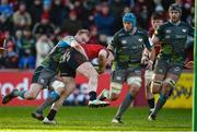 19 January 2020; Rory Scannell of Munster is tackled by Luke Price of Ospreys during the Heineken Champions Cup Pool 4 Round 6 match between Munster and Ospreys at Thomond Park in Limerick. Photo by Diarmuid Greene/Sportsfile