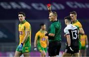 19 January 2020; Michael Farragher of Corofin, left, receives a red card from referee Conor Lane during the AIB GAA Football All-Ireland Senior Club Championship Final between Corofin and Kilcoo at Croke Park in Dublin. Photo by Seb Daly/Sportsfile