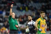 19 January 2020; Darragh Silke of Corofin is show a black card by referee Conor Lane during the AIB GAA Football All-Ireland Senior Club Championship Final between Corofin and Kilcoo at Croke Park in Dublin. Photo by Sam Barnes/Sportsfile