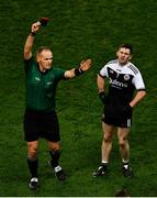 19 January 2020; Darryl Branagan of Kilcoo reacts as he is shown a black card by referee Conor Lane during the AIB GAA Football All-Ireland Senior Club Championship Final between Corofin and Kilcoo at Croke Park in Dublin. Photo by Ray McManus/Sportsfile