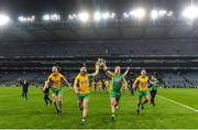 19 January 2020; Corofin players, from left, Kieran Molloy, Martin Farragher, Bernard Power and Dylan Wall celebrate with the Andy Merrigan Cup following the AIB GAA Football All-Ireland Senior Club Championship Final between Corofin and Kilcoo at Croke Park in Dublin. Photo by Sam Barnes/Sportsfile