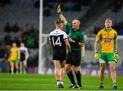 19 January 2020; Referee Conor Lane shows Jerome Johnston of Kilcoo a yellow card during the AIB GAA Football All-Ireland Senior Club Championship Final between Corofin and Kilcoo at Croke Park in Dublin. Photo by Sam Barnes/Sportsfile