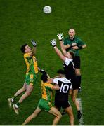 19 January 2020; Daithí Burke of Corofin and Dylan Ward of Kilcoo jostle as referee Conor Lane thows in the ball between their team-mates Ronan Steede, left, and Aidan Branagan as they jump to try and win the ball during the AIB GAA Football All-Ireland Senior Club Championship Final between Corofin and Kilcoo at Croke Park in Dublin. Photo by Ray McManus/Sportsfile