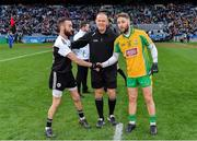 19 January 2020; Referee Conor Lane with captains Conor Laverty of Kilcoo, left, and Micheál Lundy of Corofin prior to the AIB GAA Football All-Ireland Senior Club Championship Final between Corofin and Kilcoo at Croke Park in Dublin. Photo by Seb Daly/Sportsfile
