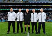 19 January 2020; Referee Conor Lane, centre, with his officials, from left, Ray Hegarty, Kevin Roche, DJ O'Sullivan and Pat Kelly, prior to the AIB GAA Football All-Ireland Senior Club Championship Final between Corofin and Kilcoo at Croke Park in Dublin. Photo by Seb Daly/Sportsfile