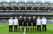 19 January 2020; Referee Colm Lyons with his officials prior to the AIB GAA Hurling All-Ireland Senior Club Championship Final between Ballyhale Shamrocks and Borris-Ileigh at Croke Park in Dublin. Photo by Seb Daly/Sportsfile