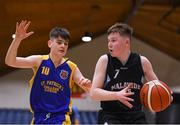 20 January 2020; Oran Flannery of  Malahide Community School in action against Liam Rowley of St Patrick's College, Cavan, during the Basketball Ireland U16 A Boys Schools Cup Final between Malahide Community School and St Patrick's College, Cavan at the National Basketball Arena in Tallaght, Dublin. Photo by Harry Murphy/Sportsfile