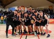 20 January 2020; Malahide Community School players celebrate with the trophy following the Basketball Ireland U16 A Boys Schools Cup Final between Malahide Community School and St Patrick's College, Cavan at the National Basketball Arena in Tallaght, Dublin. Photo by Harry Murphy/Sportsfile