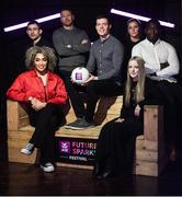 20 January 2020; Today AIB launched the AIB Future Sparks Festival 2020, an innovative careers festival for senior cycle students, which is taking place on March 26th in the RDS.  To launch this year's festival, AIB brought together some of the speakers taking part, including, from left, former international rugby player and South African World Cup winning coach Felix Jones , Irish singer-songwriter Erica Cody, artist Maser, Mayo footballer Stephen Coen, Irish sprinter Phil Healy, fashion designer Sorcha O'Raghallaigh, and founder of Evocco, Ahmad Mu'azzam. For more information, please visit www.AIB.ie/FutureSparks. #backingstudents. Photo by Ramsey Cardy/Sportsfile