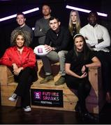 20 January 2020; Today AIB launched the AIB Future Sparks Festival 2020, an innovative careers festival for senior cycle students, which is taking place on March 26th in the RDS.  To launch this year's festival, AIB brought together some of the speakers taking part, including, from left, Mayo footballer Stephen Coen, Irish singer-songwriter Erica Cody, artist Maser, former international rugby player and South African World Cup winning coach Felix Jones, fashion designer Sorcha O'Raghallaigh, Irish sprinter Phil Healy and founder of Evocco, Ahmad Mu'azzam. For more information, please visit www.AIB.ie/FutureSparks. #backingstudents. Photo by Ramsey Cardy/Sportsfile