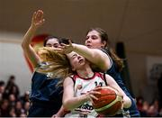 20 January 2020; Sarah Donovan of  Abbey Vocational School in action against Amy Kellaghan, left, and Lauren O'Connor of Coláiste Mhuire, Crosshaven, during the Basketball Ireland U16 B Girls Schools Cup Final between Abbey Vocational School and Coláiste Mhuire, Crosshaven at the National Basketball Arena in Tallaght, Dublin. Photo by Harry Murphy/Sportsfile