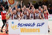 20 January 2020; Abbey Vocational School players celebrate with the trophy following the Basketball Ireland U16 B Girls Schools Cup Final between Abbey Vocational School and Coláiste Mhuire, Crosshaven at the National Basketball Arena in Tallaght, Dublin. Photo by Harry Murphy/Sportsfile