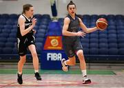 20 January 2020; Sarah Hickey of Our Lady of Mercy in action against Clionadh Daly of Pobailscoil Inbhear Sceine during the Basketball Ireland U16 A Girls Schools Cup Final between Pobailscoil Inbhear Sceine and Our Lady of Mercy, Waterford at the National Basketball Arena in Tallaght, Dublin. Photo by Harry Murphy/Sportsfile