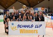 20 January 2020; Pobailscoil Inbhear Sceine players celebrate with the trophy following the Basketball Ireland U16 A Girls Schools Cup Final between Pobailscoil Inbhear Sceine and Our Lady of Mercy, Waterford at the National Basketball Arena in Tallaght, Dublin. Photo by Harry Murphy/Sportsfile