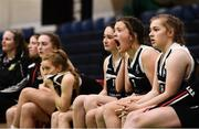 20 January 2020; Pobailscoil Inbhear Sceine players on the bench react during the Basketball Ireland U16 A Girls Schools Cup Final between Pobailscoil Inbhear Sceine and Our Lady of Mercy, Waterford at the National Basketball Arena in Tallaght, Dublin. Photo by Harry Murphy/Sportsfile