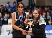 20 January 2020; Pobailscoil Inbhear Sceine captain Tania Salvado is presented the trophy by Chief Operations Officer Louise O'Loughlin following the Basketball Ireland U16 A Girls Schools Cup Final between Pobailscoil Inbhear Sceine and Our Lady of Mercy, Waterford at the National Basketball Arena in Tallaght, Dublin. Photo by Harry Murphy/Sportsfile