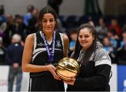20 January 2020; Pobailscoil Inbhear Sceine captain Tania Salvado is presented the MVP award by Chief Operations Officer Louise O'Loughlin following the Basketball Ireland U16 A Girls Schools Cup Final between Pobailscoil Inbhear Sceine and Our Lady of Mercy, Waterford at the National Basketball Arena in Tallaght, Dublin. Photo by Harry Murphy/Sportsfile