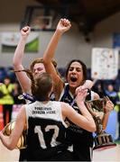 20 January 2020; Pobailscoil Inbhear Sceine players Tania Salvado, Clionadh Daly and Sarah Taylor celebrate with the trophy following the Basketball Ireland U16 A Girls Schools Cup Final between Pobailscoil Inbhear Sceine and Our Lady of Mercy, Waterford at the National Basketball Arena in Tallaght, Dublin. Photo by Harry Murphy/Sportsfile
