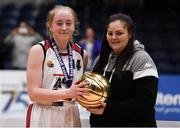 20 January 2020; Sarah Donovan of  Abbey Vocational School is presented the MVP award by Chief Operations Officer Louise O'Loughlin during the Basketball Ireland U16 B Girls Schools Cup Final between Abbey Vocational School and Coláiste Mhuire, Crosshaven at the National Basketball Arena in Tallaght, Dublin. Photo by Harry Murphy/Sportsfile
