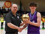 20 January 2020; Ben Clynes of St Joseph's Secondary School, Rochfortbridge is presented the MVP award by PPSC PJ Reidy following the Basketball Ireland U16 C Boys Schools Cup Final between St Joseph's Secondary School, Rochfortbridge and Skibbereen Community School at the National Basketball Arena in Tallaght, Dublin. Photo by Harry Murphy/Sportsfile