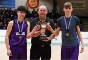 20 January 2020; Joint Captains Craig Morgan and Conor Plunkett are presnted the trophy by PPSC PJ Reidy following the Basketball Ireland U16 C Boys Schools Cup Final between St Joseph's Secondary School, Rochfortbridge and Skibbereen Community School at the National Basketball Arena in Tallaght, Dublin. Photo by Harry Murphy/Sportsfile