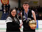 20 January 2020; Christian Mcdonnell of Malahide Community School is presented the MVP award by Chief Operations Officer Louise O'Loughlin during the Basketball Ireland U16 A Boys Schools Cup Final between Malahide Community School and St Patrick's College, Cavan at the National Basketball Arena in Tallaght, Dublin. Photo by Harry Murphy/Sportsfile