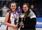 20 January 2020; Emma Meehan of  Abbey Vocational School is presented the trophy by Chief Operations Officer Louise O'Loughlin during the Basketball Ireland U16 B Girls Schools Cup Final between Abbey Vocational School and Coláiste Mhuire, Crosshaven at the National Basketball Arena in Tallaght, Dublin. Photo by Harry Murphy/Sportsfile